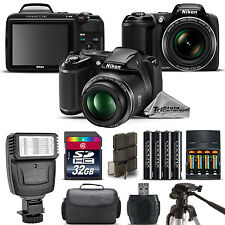 Nikon COOLPIX L340 Camera 28x Optical Zoom + Flash + Case - 32GB Kit Bundle