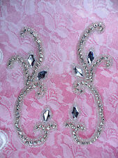 """Crystal Rhinestone Appliques Mirror Pair Silver Beaded Sewing Patch 5.75""""  XR307"""