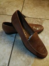 ANDIAMO Womens Tan Croc look Leather Loafers  9.5