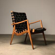Mel Smilow Walnut + Woven Leather Lounge Chair