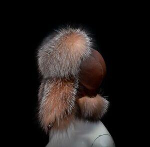 Golden Frost Silver Fox Fur Genuine Leather Handmade Men's Bomber Aviator Hat