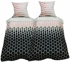4 tlg Bettwäsche 155x220 rosa weiß Gittermuster Mikrofaser Schlafzimmer Set