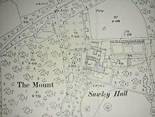 Old Antique Ordnance Map 1909 Yorkshire CXXXVI.4 Sawley & Sawley Hall ...