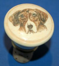 More details for an antique dog head portrait bone bottle stopper, 19th or early 20th century
