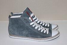 Prada Blue Suede High Top White Cap toe Sneaker Lace up Women Shoes 11.5 / 41.5