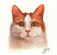 Original Oil Cat Portrait Painting Japanese Bobtail Longhair Art Canvas Kitten