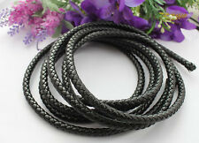3 Meters of 8mm Black Braided Bolo Synthetic Leather Cord #22515