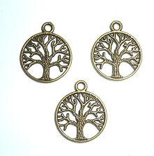 3 x TREE OF LIFE IN CIRCULAR FRAME  SPIRITUAL CHARM 20mm DEEP BRONZE  COLOUR