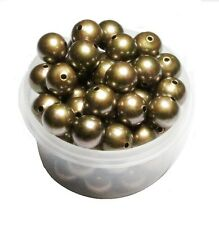 12 MM Smooth  Vintage Brass Round Seamless Hollow Beads 50 Pcs. Hole 2.0 MM