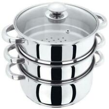 3 Tier Stainless Steel Steamer Cooker Pot Set Pan Cook Food Glass Lids 25cm UK