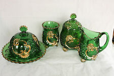 EAPG RIVERSIDE GLASS EMERALD GREEN GOLD DECORATED CROESUS 6 PIECE TABLE SET