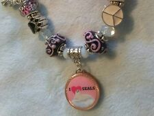 I Love Seals Save The Seals Penny Charm Murano Beaded Bracelet
