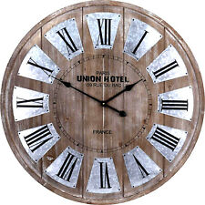 EXTRA LARGE WALL CLOCK BIG ROMAN NUMERALS GIANT OPEN FACE WOODEN 80CM