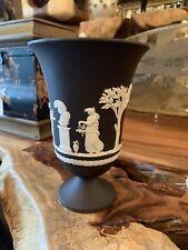 """Wedgwood Jasperware Black Pedestal Vase 7"""" Olympus"""