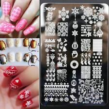 Arte en uñas placa de imagen Planchas para Estampar Navidad Renos Copos de Nieve Pascua (MR02)