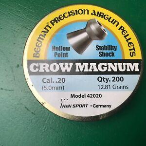 NOS Beeman Crow-Magnum in .20 cal 200 count tin NOS air rifle/pistol  pellets