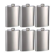 Top Shelf Flasks Stainless Steel Hip Flasks, 8oz, Set of 6 Flasks