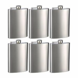 Engraved Set of Six 8oz Stainless Steel Groomsman Flasks - Personalized