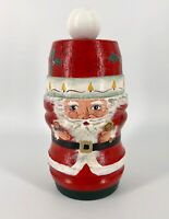 Santa Wooden Newel Post Figurine Rustic Folk Art Hand Painted Christmas 8.5""