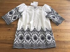 XL 1X White Navy Embroidered Scallop Peasant Tunic Top Cotton Eyelet Lace Blouse