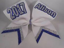 Cheer Bow SCHOOL Team Bow White Royal Blue Silver CUSTOM name BlingItOnCheerBow