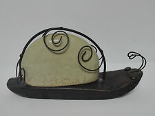 Antiguo Pisapapeles de metal y porcelana forma de caracol 24x12cm   ART-DECO