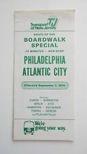 Vintage 1974 Transport of New Jersey TNJ Bus Schedule Philadelphia Atlantic City
