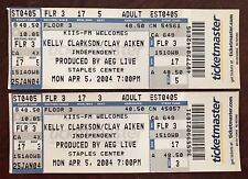 (2) Kelly Clarkson & Clay Aiken 2004 Full Concert Tickets American Idol Staples
