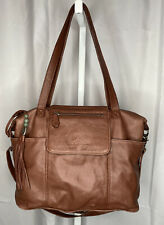 Lily Jade Backpack Camel Leather Red Interior Fashion Changing Pad Diaper Bag