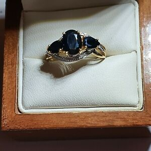 9ct Gold 3 Stone Sapphire and Diamond Ring