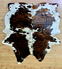 White and Brown Cowhide rug Cowhide leather 100%Natural Deer Reindeer Sheepskin