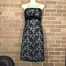 White House Black Market Sz 4 S Lace Dress Nude Black Lace Bow Strapless -A