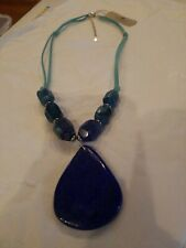 Barse Lapis Stone Leather cord Necklace NWT $68