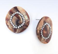 Brown Marbled Tortoise Resin & Crystal Pave Disc Stud EARRINGS