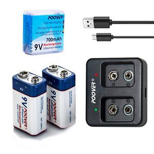 2x 9V Akku Li-ion Rechargeable Batterien 6F22 9-Volt-Block R2Use + USB Ladegerät