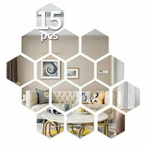 Hexagon Wall Decals, Mirror Wall Stickers,15 PCS Large Removable Acrylic