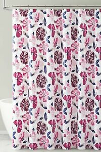 Purple and Magenta Floral Design PEVA Shower Curtain Liner Odorless ECO Friendly