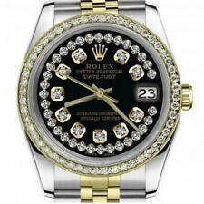 Rolex Oyster Perpetual 36mm Datejust Glossy Black String Diamond Accent Dial Aut