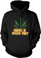 Have A High Day Pot Leaf Smiley Face 420 Weed Marijuana Hoodie Pullover