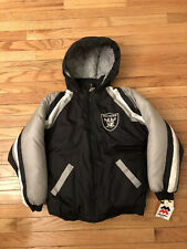 Oakland Raiders NFL Vintage Mighty Mac Insulated Hooded Parka Jacket NWT Youth M