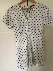 BNWT Cotton On White Black Small Floral Playsuit Romper Shirt Top Shorts 10 NEW