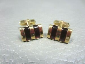 Vintage Red Lucite Strips Yellow Gold Plated Cuff Links