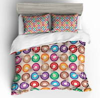 Color Ring Circle 3D Quilt Duvet Doona Cover Set Single Double Queen King Print