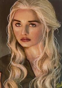 ACEO 1/1 Original Game Of Thrones Daenerys Targaryen Clarke Sketchcard Signed
