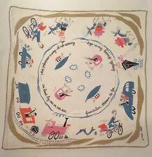 "Vintage Travel Handkerchief Hankie ""However you go have a wonderful trip"" Pande"
