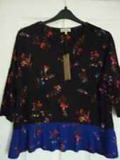Phase Eight Elysia Black Blue Floral Hotchpotch Top. UK 14 EUR 40-42 US 10