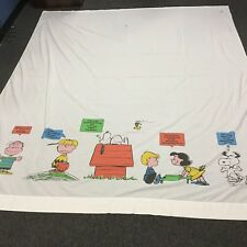 1971 Peanuts Flat FULL Sheet SNOOPY Charlie Brown 81x104 complain but love home