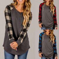 Women Plaid Raglan Baseball Tee Funny Long Sleeve Blouse Top Casual Tee T-Shirt