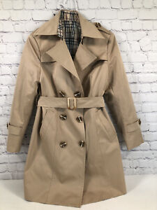 Womens  Custom Trench Coat Nylon Tan SZ M Plaid Lining Designer