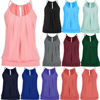Fashion Womens Summer Loose Wrinkled O Neck Cami Tank Top Vest Blouse T Shirts